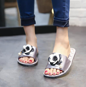 Silver Rose Flat Shoes