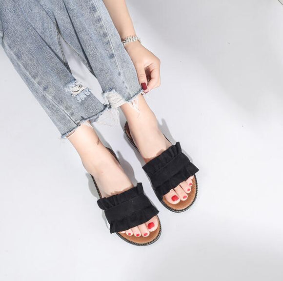 Black Cloth Flat Shoes