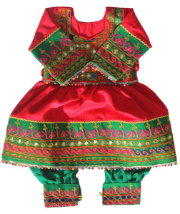 Baby Girl Red & Green Afghani Dress | muslim-baby.com