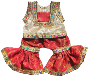 Baby Girl Red & Gold Gharara | muslim-baby.com