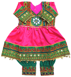 Baby Girl Pink & Green Afghani Dress | muslim-baby.com
