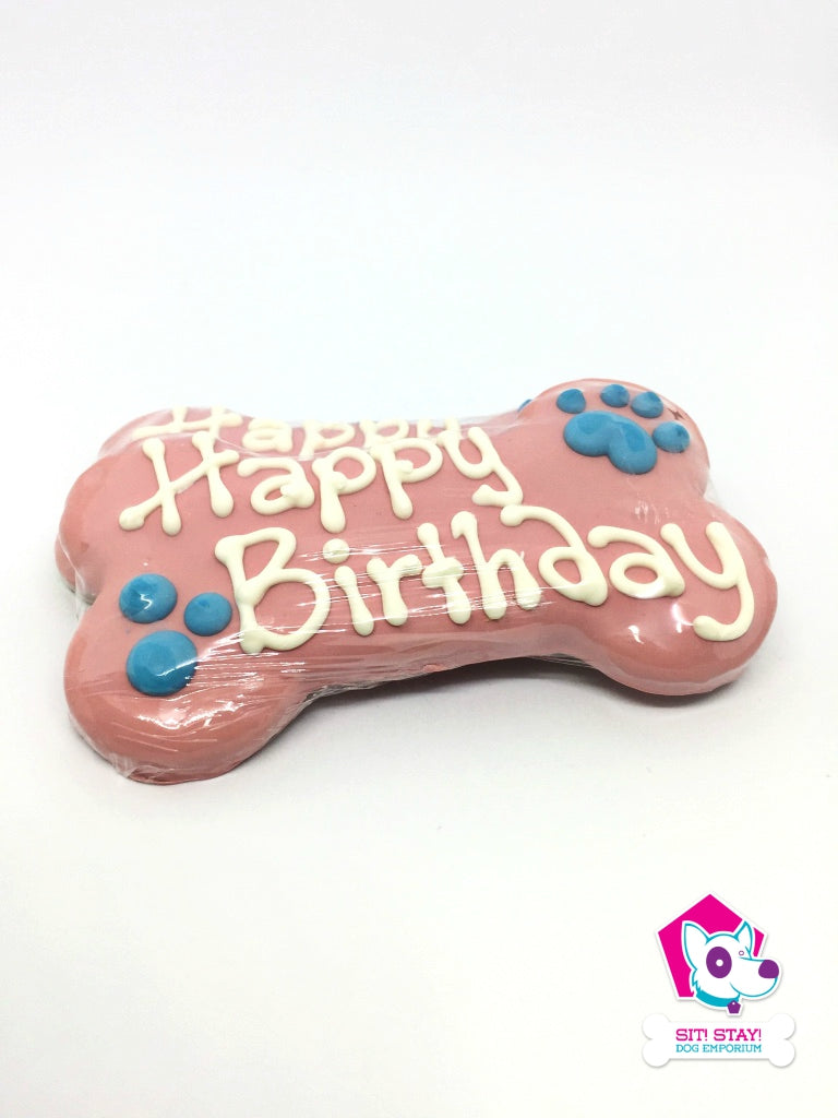 Cookie - Pink Happy Birthday Bone
