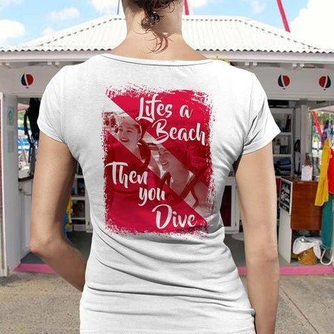 Beach Then Dive Ladies Tee-T-Shirt-Drunken Palm Island Outfitters