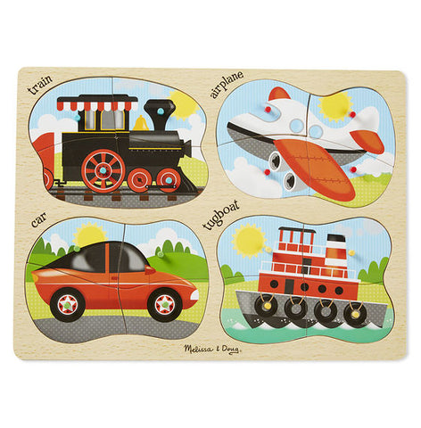 Melissa and Doug 4 in 1 Peg Puzzle Vehicles