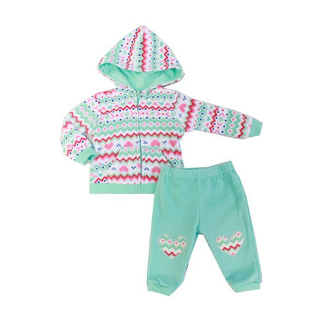 Baby Mode 2 piece micro-fleece jacket set - Sweetheart