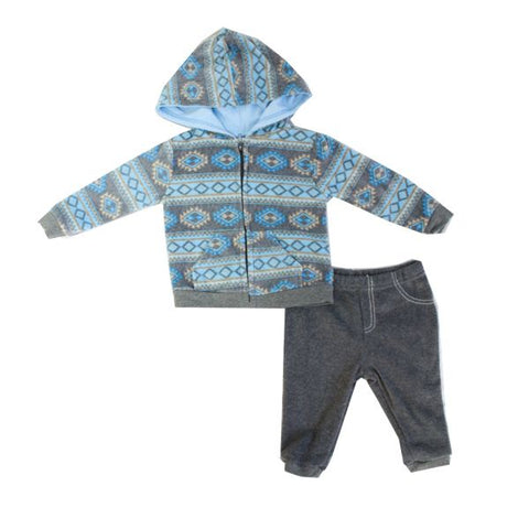 Baby Mode 2 piece micro-fleece jacket set - Fair Isle