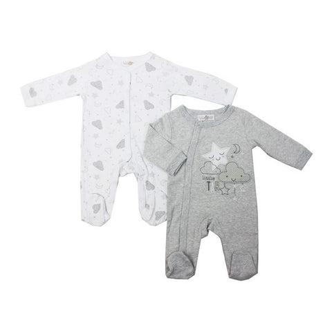 Jack and Lily 2 pack sleepers - grey