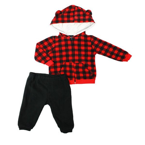 Baby Mode 2 piece micro-fleece jacket set - Buffalo plaid