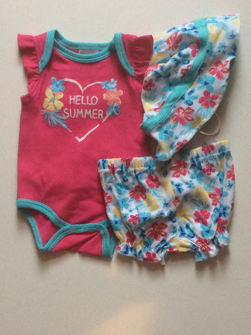 Baby mode infant girl's 3 piece short set