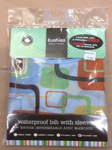 Kushies waterproof bib with sleeves