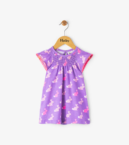 Hatley infant girl's cottontail flutter sleeve dress