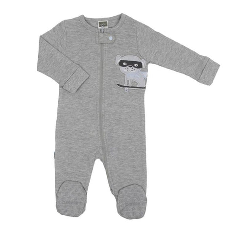 Kushies grey front zip sleeper - dog