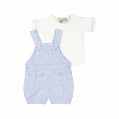 Rock a Bye Baby infant boy's shortall set
