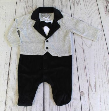 Rock a Bye Baby boy's grey tuxedo sleeper