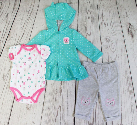 Baby Mode infant girl's 3 piece set - Whooo's a Cutie