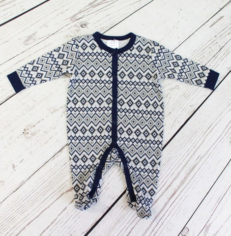 Baby Mode boy's blue chevron sleeper