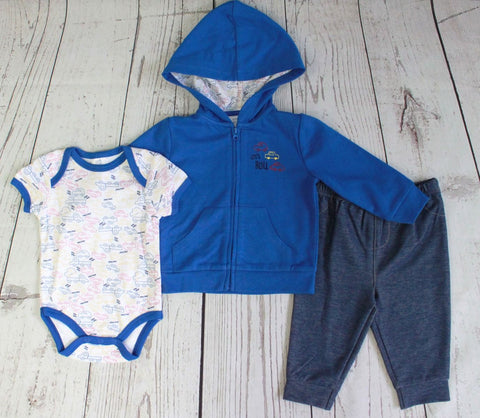 "Baby Mode infant boy's 3 piece set - ""Let's Roll"""