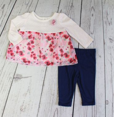 Baby Mode infant girl's 2 piece flower set