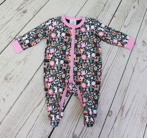 Baby Mode girl's forest animals sleeper