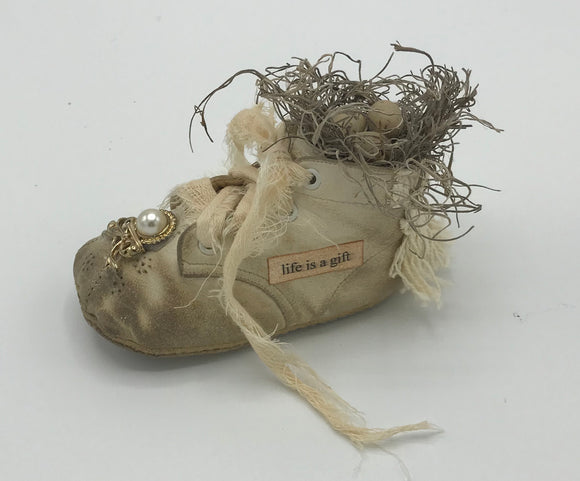 Altered Vintage Baby Shoe* life is a gift