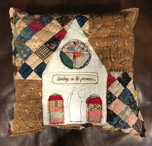 Vintage Quilt Pillow - Church * Standing on the Promises