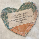 Mini Scripture Quilts * Hearts * James 1:17