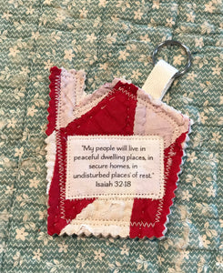 Mini Scripture Quilts * House Blessing Key Rings *Isaiah 32:18