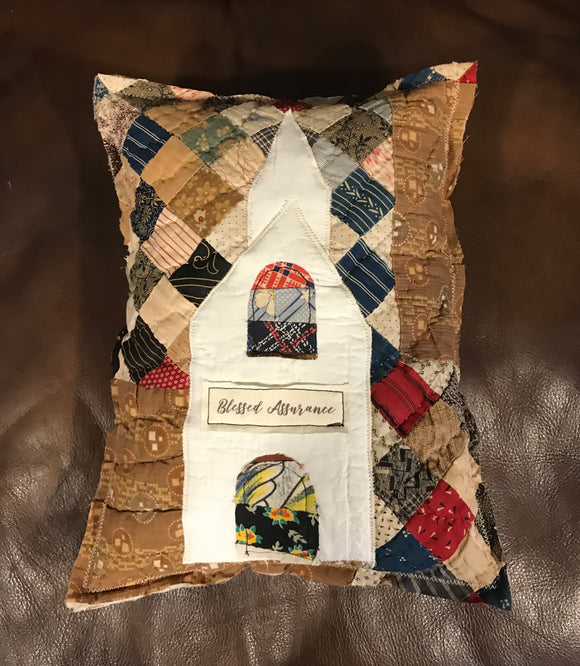 Vintage Quilt Pillow - Church * Blessed Assurance
