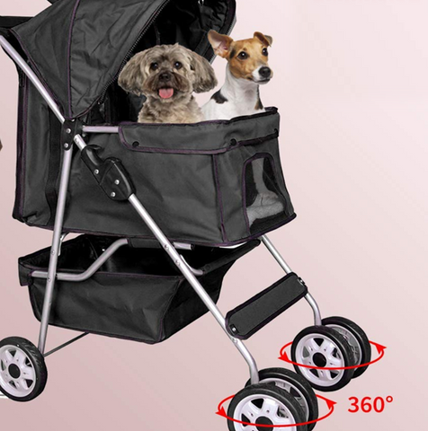 Dog pushchair - all precious pets kept safe with the 4 wheel buggy