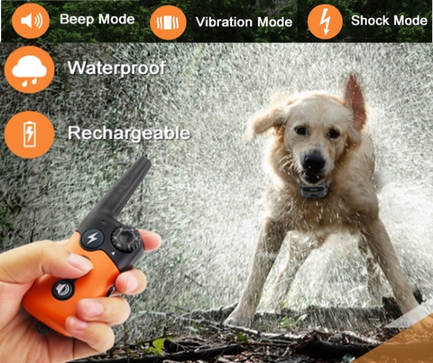 Waterproof dog shock collar - perfect for the dog who loves swimming.  Remote control over 3 training modes - shock, vibrate and beep