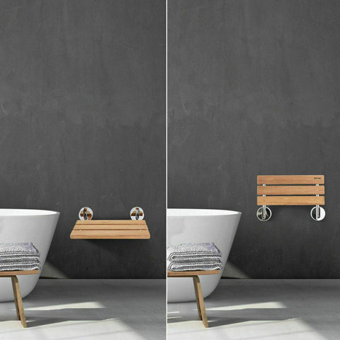 Teak bathroom bench – the folding wood shower seat can also double in the b