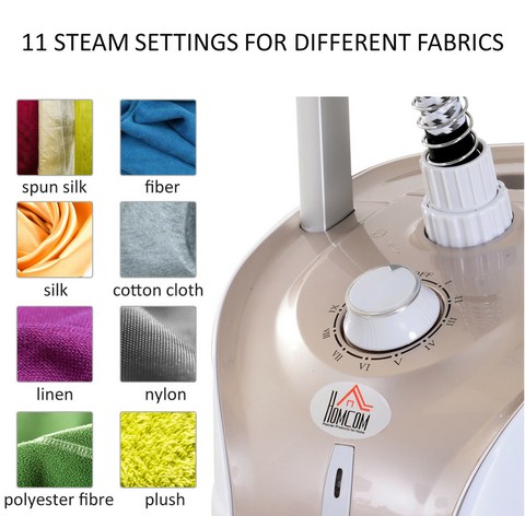 Hand fabric steamer with settings for different fabrics ranging from silk, cotton, linen, nylon, polyester or push