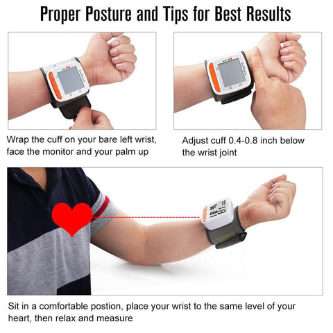 This digital blood pressure monitor machine is simple to use.  Sit quietly and raise your arm so it is in line with your heart.  The bp machine does all the rest.