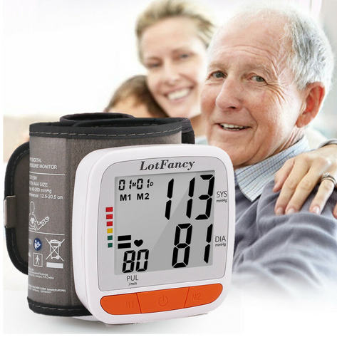 blood pressure test is easily done at home with this blood pressure wrist cuff.  Monitor your pulse readings and test your blood pressure regularly.