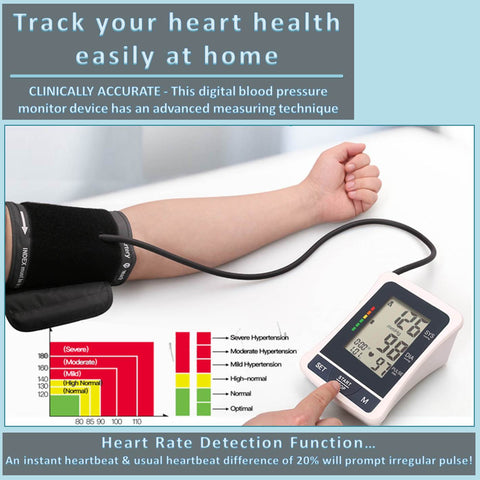 This best bp monitor helps you to blood pressure test (both systolic and diastolic pressure) and presents the information in a clear digital display screen making it easy to determine whether your pressure at risk – enjoy using this blood pressure tester!