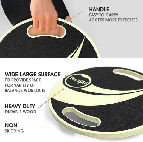 Yes4all balance board with handles and removable base.  Non grip surfaces mean you can exercise and practice core strength while on the wobbel board