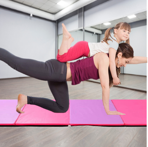 workout mat in pink and purple, tri folding to make it easily portable