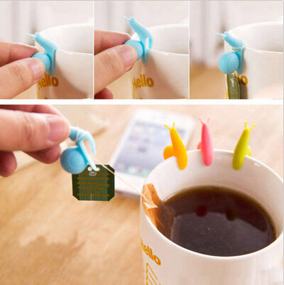 5 Cute Snail Shape Silicone Tea Bag Holder - Random Colors