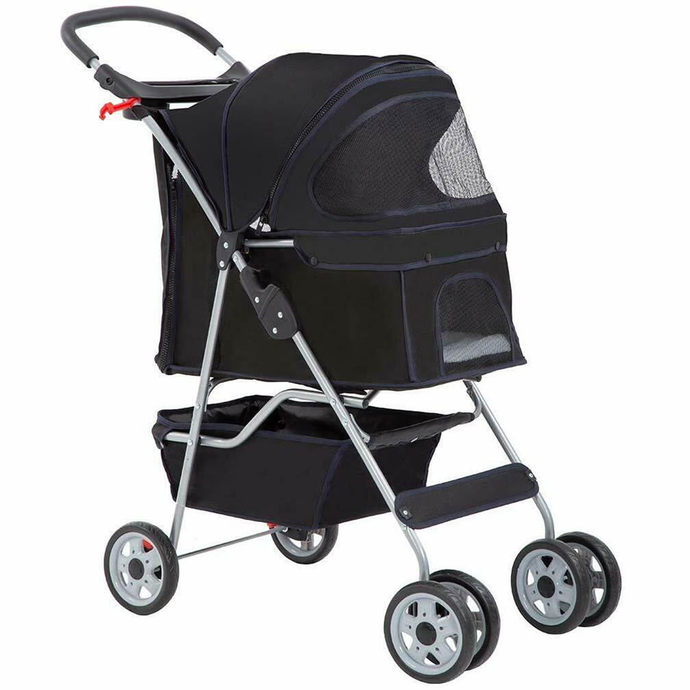 Black four wheeled pet stroller suitable for all pets weighing up to 25 lbs