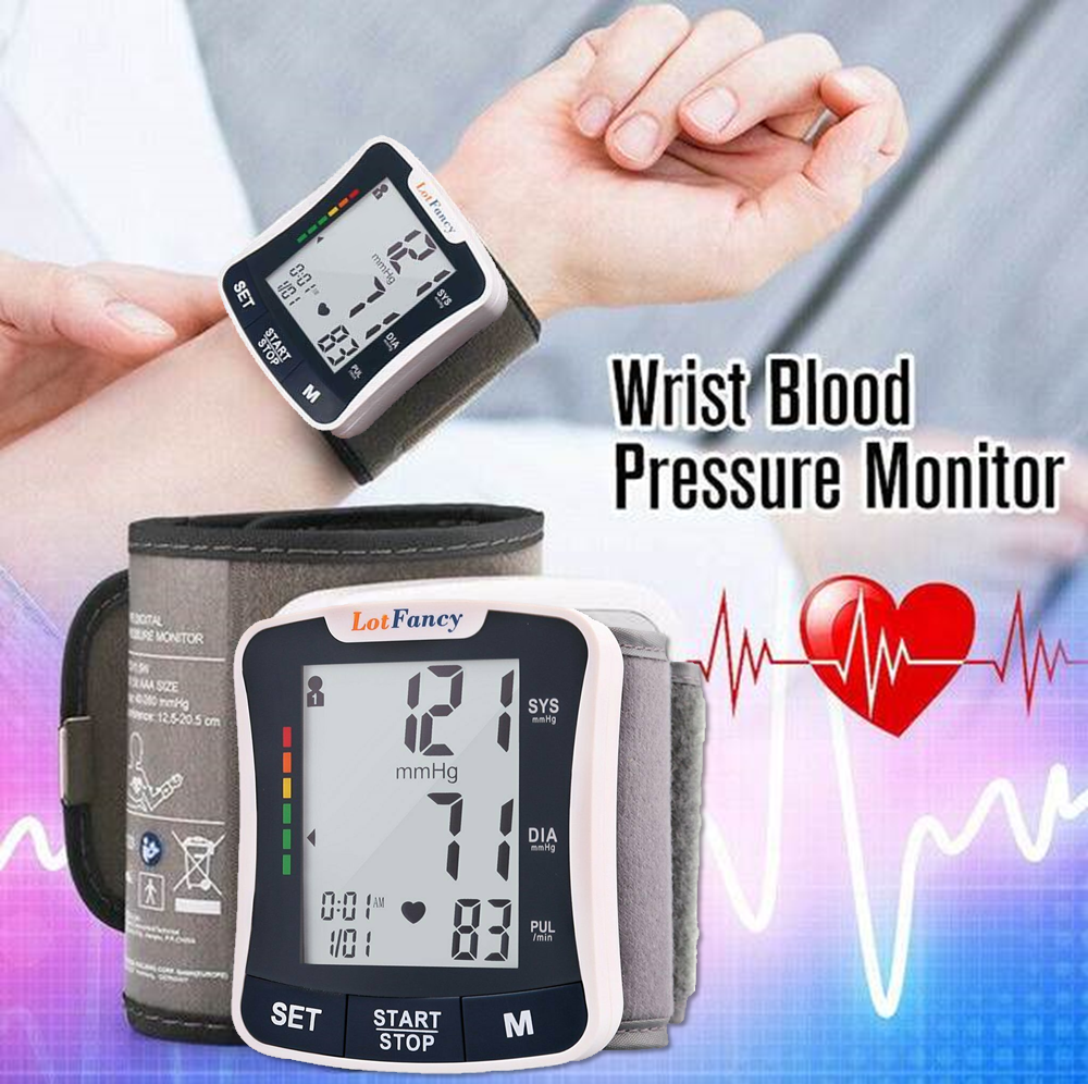 Automatic Digital Blood Pressure Monitor Wrist Cuff for Home Testing 180 memory capacity