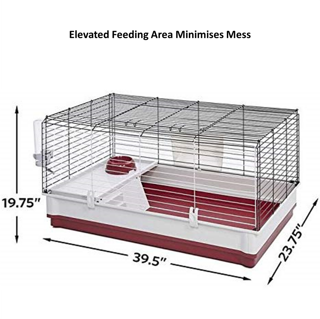 "Bunny cage measures 39.5"" Length x 23.75"" Width x 19.75"" Height"