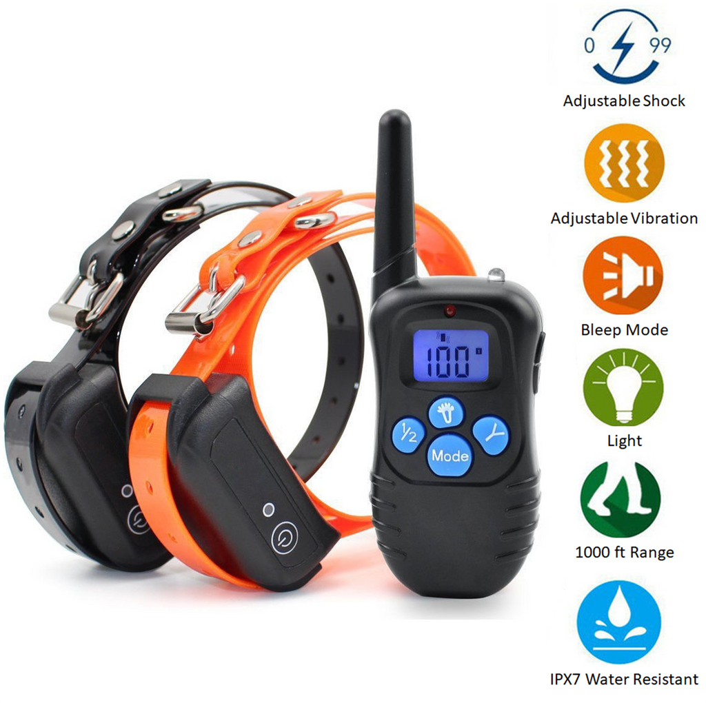 Dog training collars with rechargeable remote transmitter works up to 1000 feet