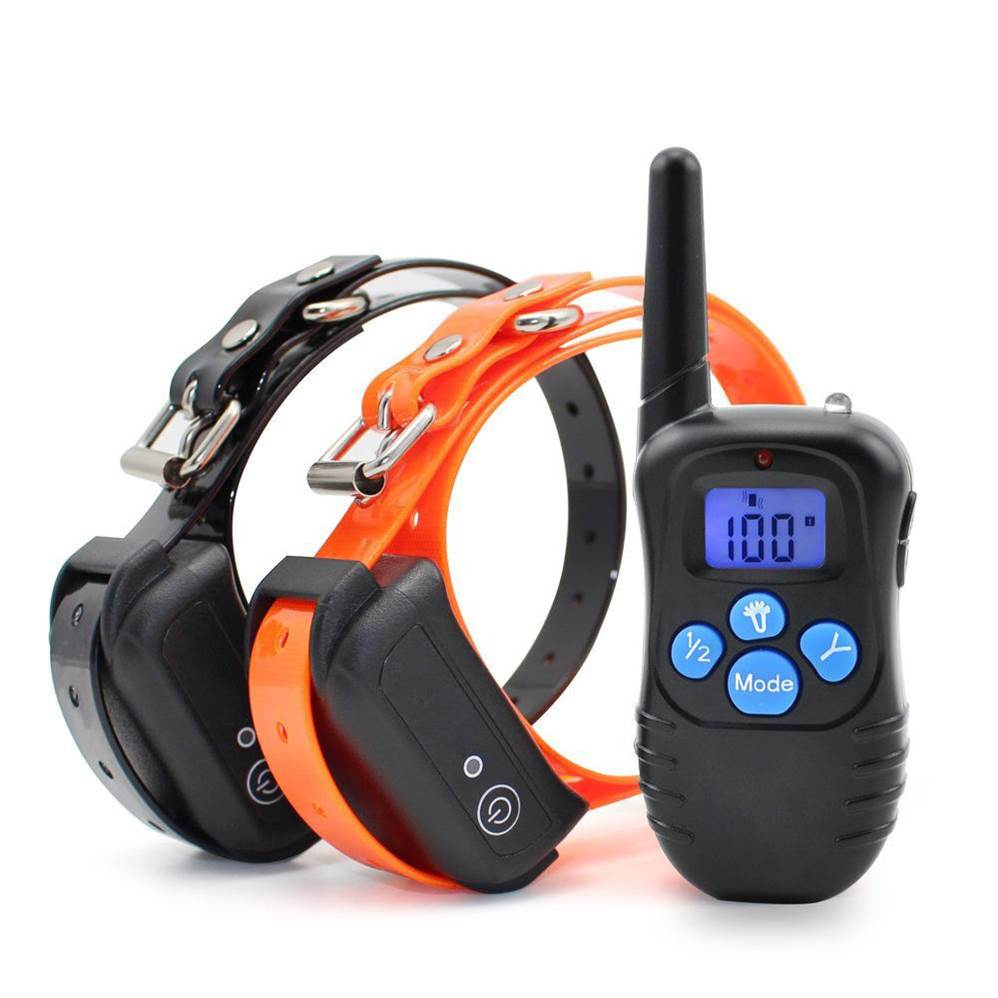 Best dog shock, vibrate and beep training collar for dogs.  Our set comprises two collars and waterproof receivers, which enables you to keep two dogs under control with a single remote