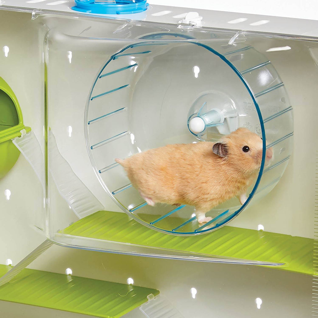 Glass hamster cage with tubes also includes hamster wheels to make it the best hamster cage.