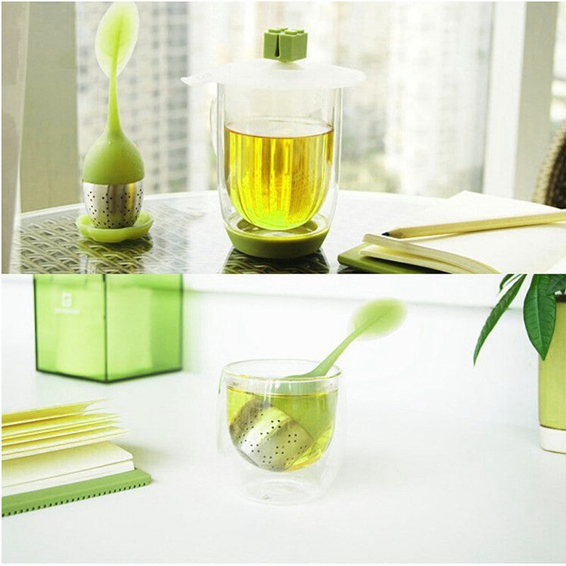 5 Color Sweet Leaf Silicone Tea Infuser Reusable Strainer with Drop Tray