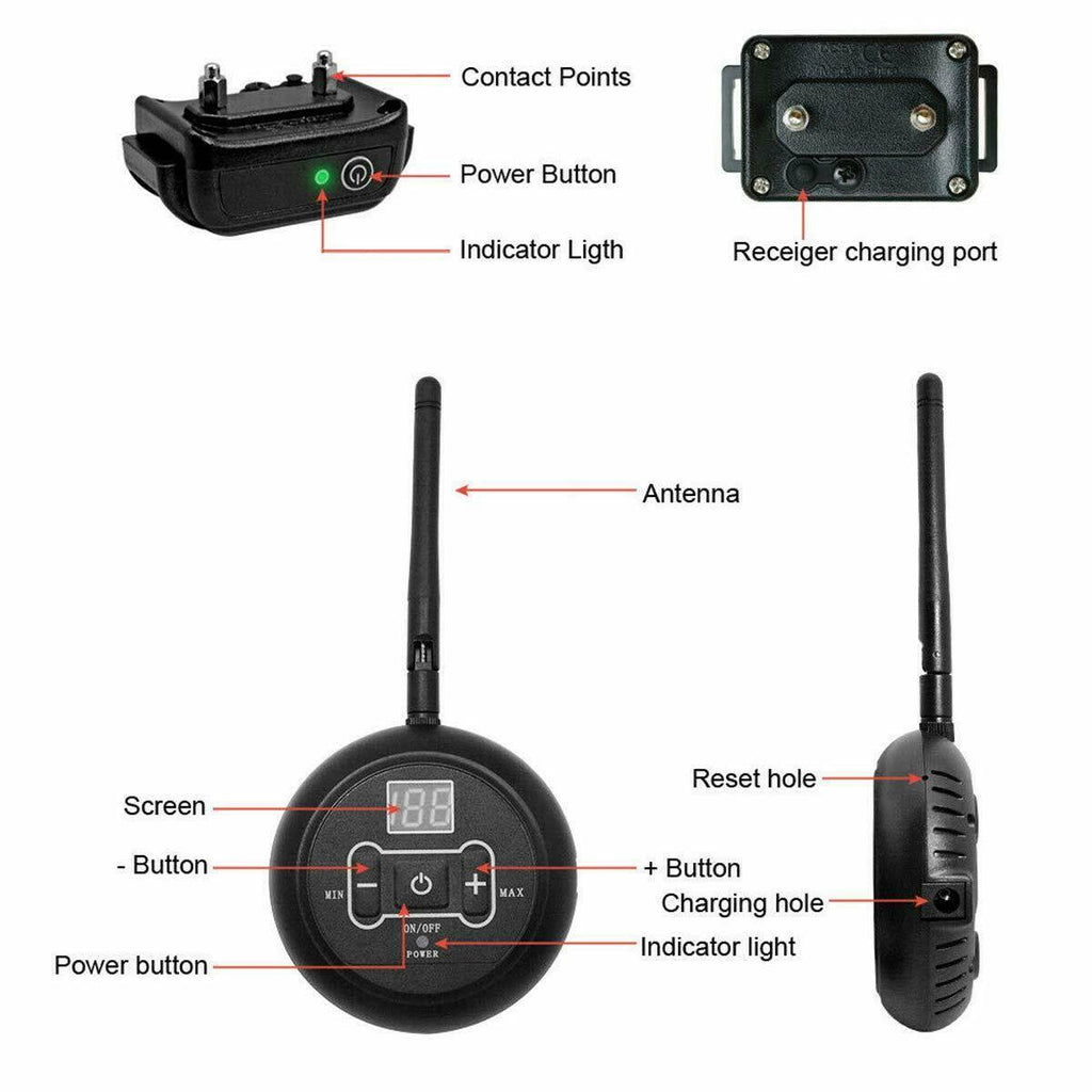 Wireless transmitter and dog collar with receiver are all you need to keep your dog inside the invisible fence