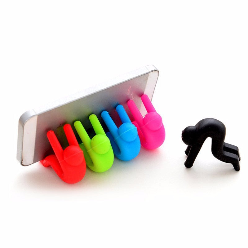 iphone holder - 5 silicon little people - red, green, blue, pink and black