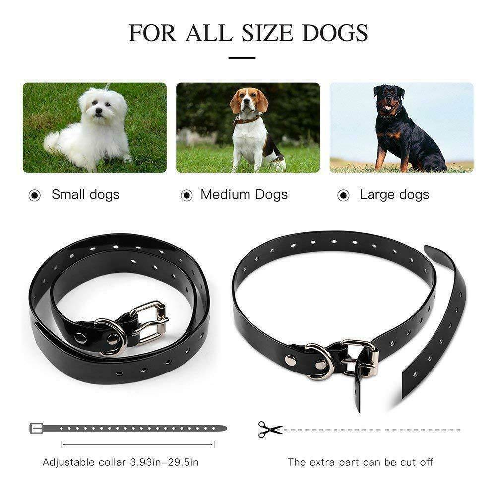 Dog shock collar fence where the collars adjust to fit from small to extra large dogs with collar length from 4 to 25 inches.