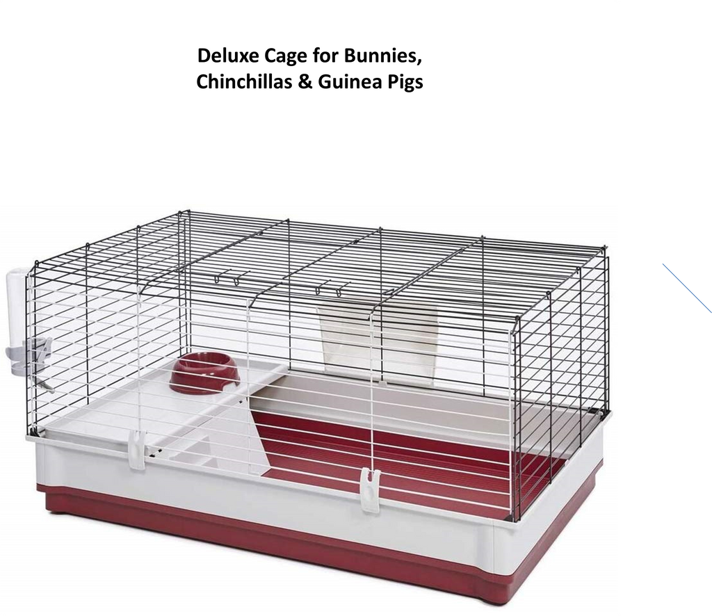 Rabbit cage with deep solid base to minimize mess.  Ideal for bunny rabbits, chinchillas, guinea pigs and ferrets.
