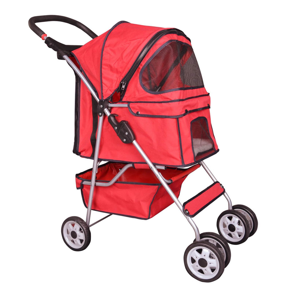 Keep your beloved cat safe in our red four wheeled cat stroller